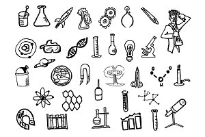 34 Hand Drawn Science Doodles