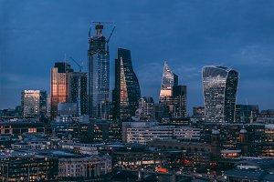 City of London modern skyline night