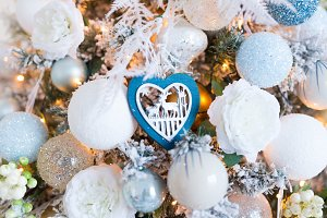 White christmas-tree decorations on