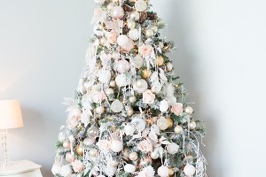 Christmas tree with white and light