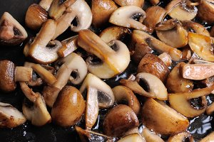 Fried sliced mushrooms