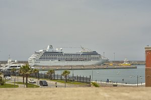 The cruise ship in the port