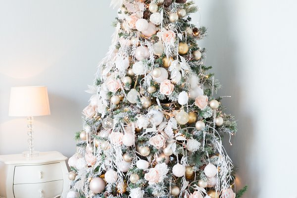 Holiday Stock Photos - Christmas tree with white and light