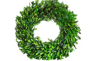 Boxwood Wreath on White