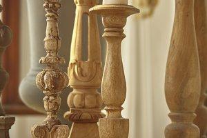 Old wooden candelabras.