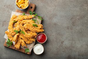 Breaded chicken strips with two kind