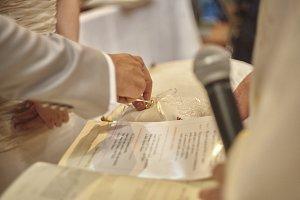 The exchange of wedding rings.