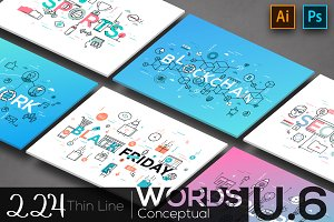 224 Thin Line Conceptual Words. U-6