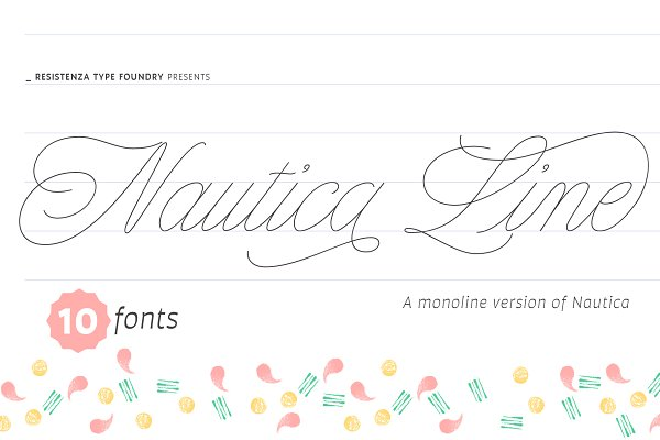 Script Fonts: Rsz Type Foundry - Nautica Line 10 fonts - 50% off