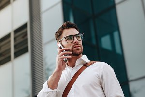 Entrepreneur talking on cell phone