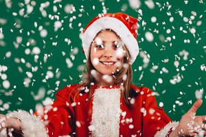 Portrait of a girl dressed as santa