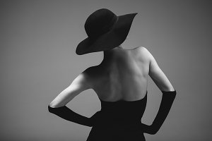 Retro styled woman in black