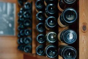 Wine bottles in an old cellar