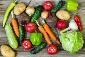 Different colorful vegetables all