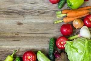 Top view of healthy food background