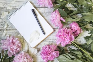 Open blank notepad, pen, and peony