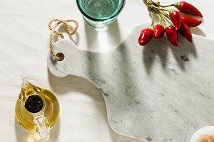 empty marble cutting board on a tabl