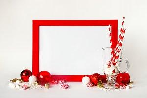 Christmas red frame mock up