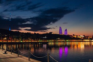 Evening view of Baku, Azerbaijan