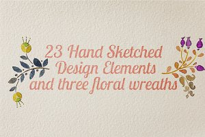 23 Hand Sketched Design Elements