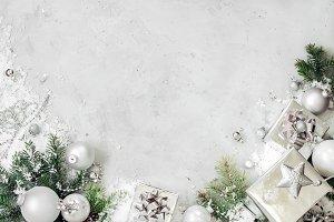 Christmas background with xmas decor