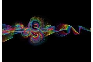 abstract rainbow wavy smoke flame