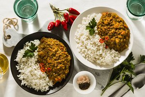 banner of Basmati rice with curry fr