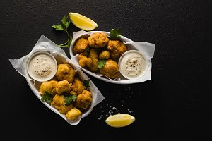 Fried cauliflower in batter with a s