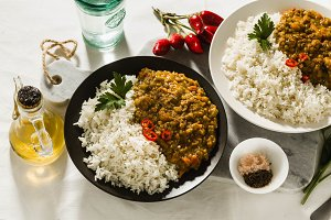 Basmati rice with curry from vegetab