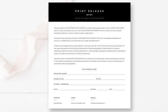 Photographer Print Release Form Stationery Templates Creative Market
