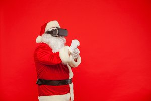 Santa Claus wearing virtual reality