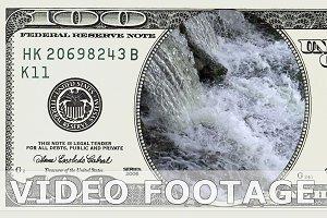 Waterfall in frame of 100 dollar