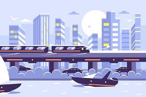 Subway train over cityscape