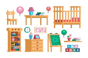 Childrens room interior set