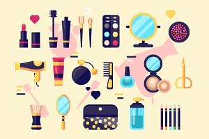 Cosmetics beauty and makeup icons