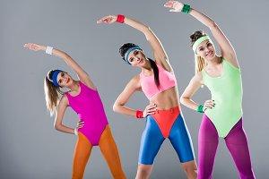 beautiful sporty girls stretching an