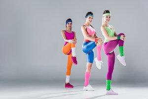 beautiful young sportswomen exercisi