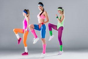 beautiful sporty girls training toge