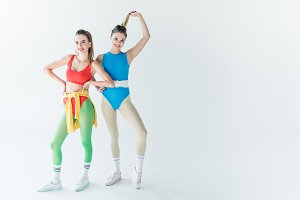 attractive sporty girls posing and s