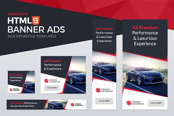 html5 animated banner ad templates html css themes creative market