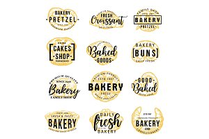 Bakery shop icons lettering