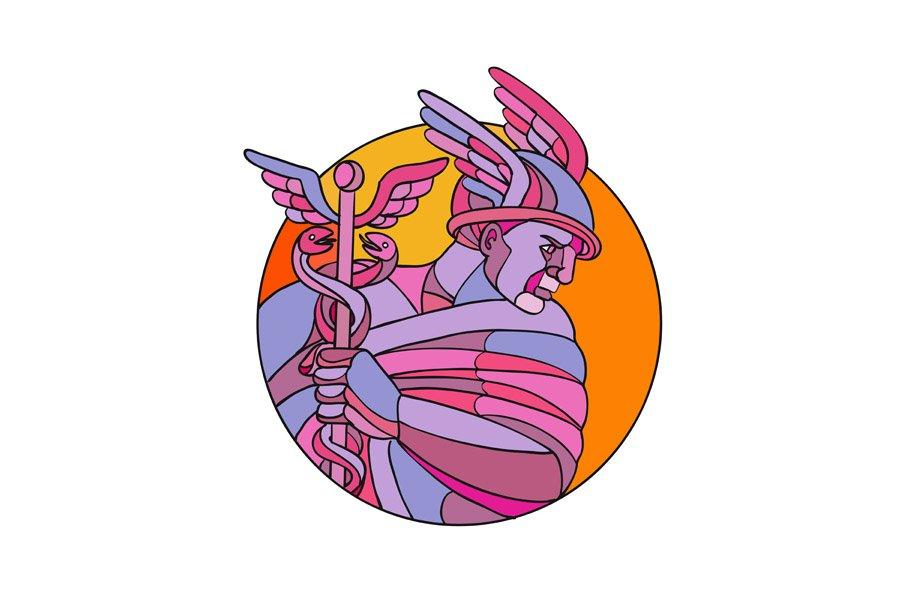 Hermes Messenger of the Gods Mosaic