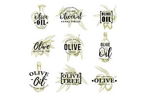 Olive oil icons, leaves and bottle