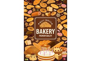 Bakery shop poster, pastry food