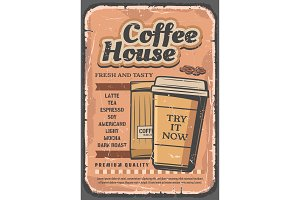 Coffee house, paper cup and beans