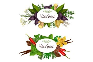 Herbs and hot spices, seasonings
