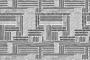 Black white doodle stripe pattern