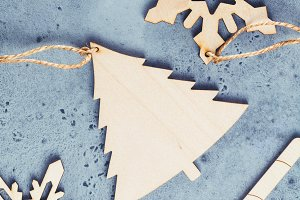 Various wooden Christmas decorations