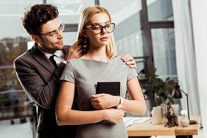 portrait of male lawyer flirting wit