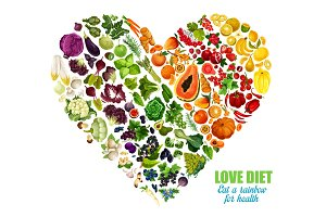 Vegetables and fruits color diet